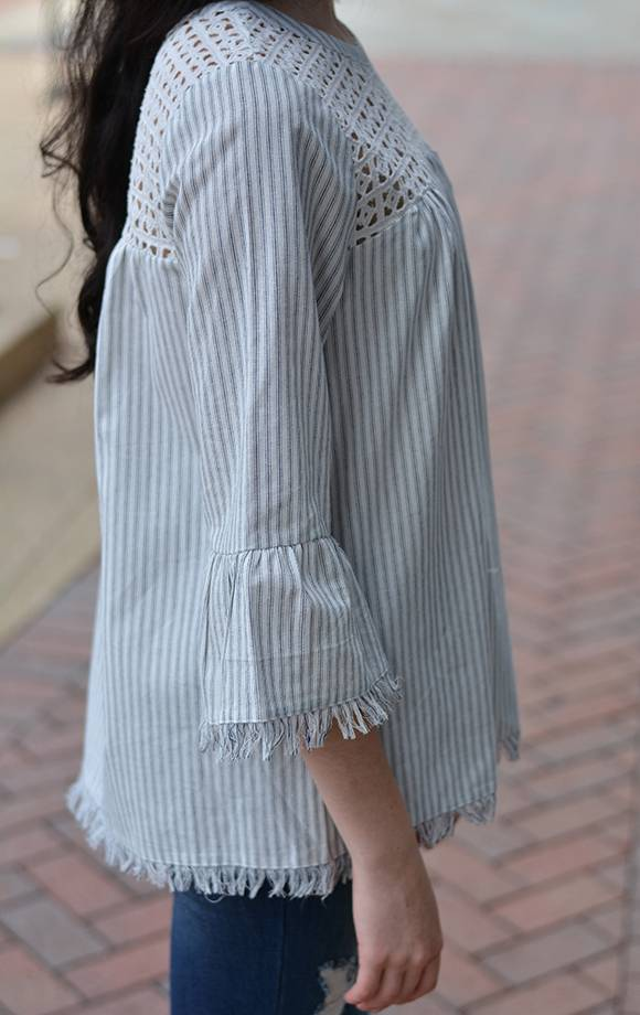 Eyelet Embroidered Frayed Edge Top