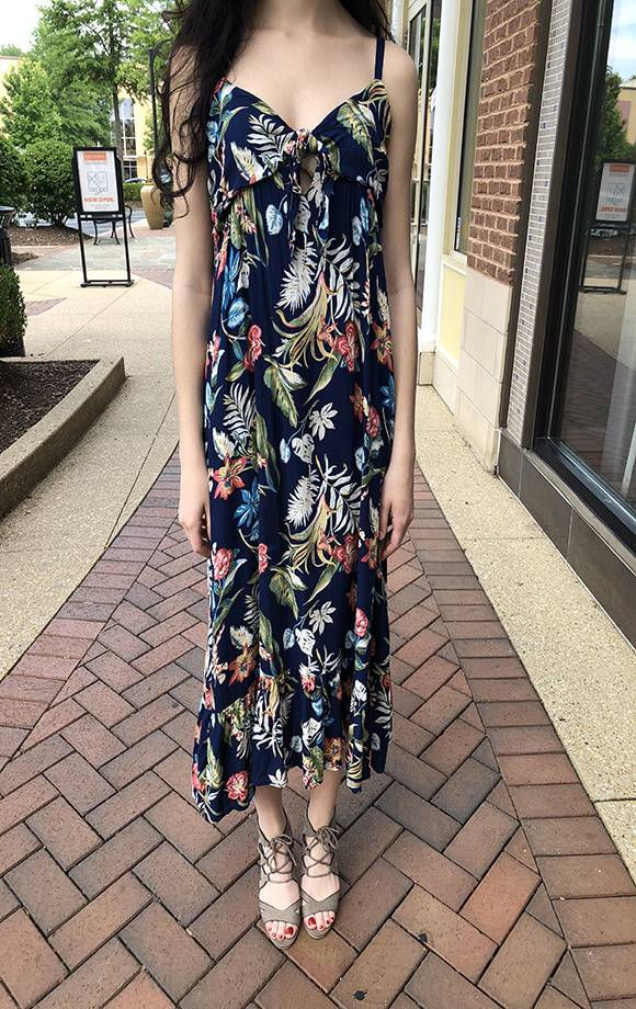 Midi Bandeau Tie Frt Floral Dress