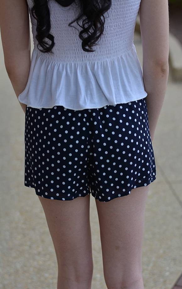 Polka Dot Shorts W/Tie Front