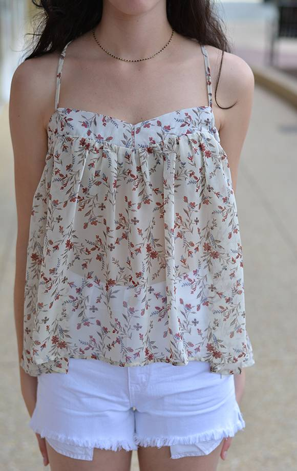 Floral Prt Chiffon Top W/Cross Back Straps