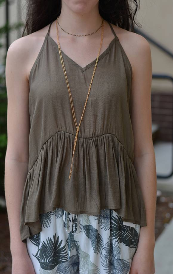 Ruffle Cami Top W/Tie Backs
