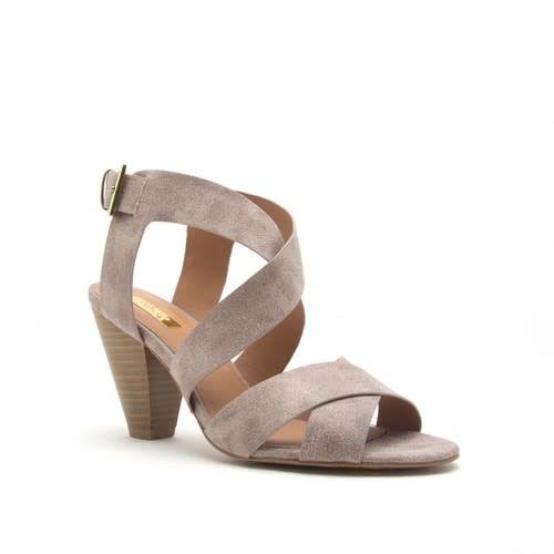 Distressed Strap Open Toe Heel