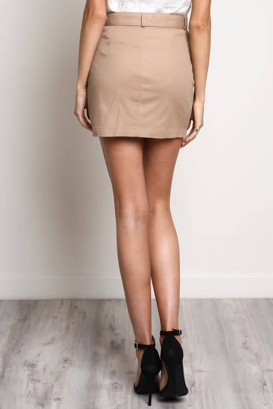 Button Down Belted Mini Skirt