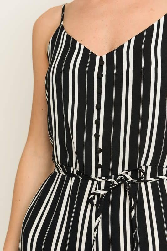 Striped Button Det Cropped Jumpsuit