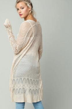 L/S Open Front Long Knit Cardigan