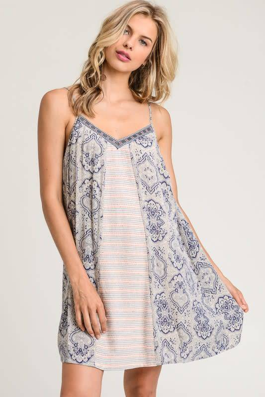Trimmed Vneck Printed Dress