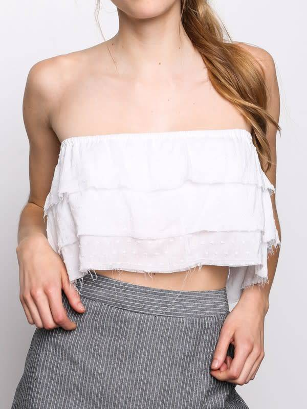 3 Tier Raw Edge Cropped Tube Top