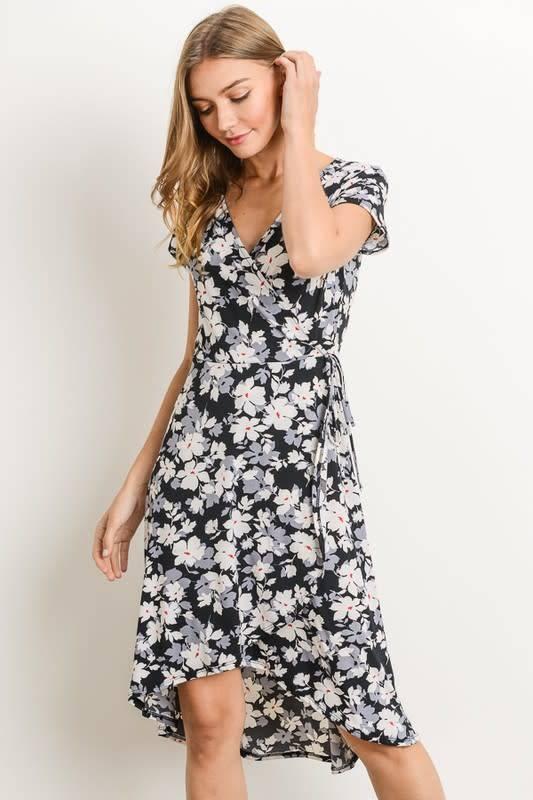 Faux Wrap Floral Midi Hi Lo Dress