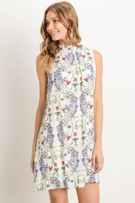 Ruffled Halter Neck Floral Shift Dress