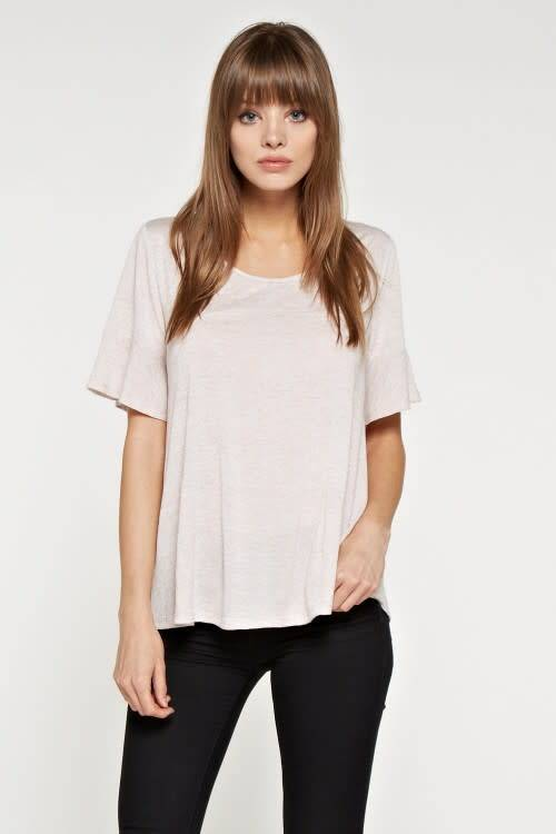 Ruffle Slv Knit Top