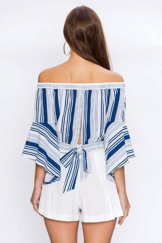 Flared Slv V Stripe Off Shoulder Top