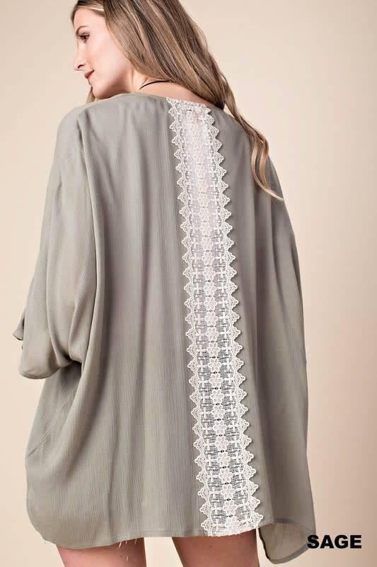 Back Lace Trim Kimono