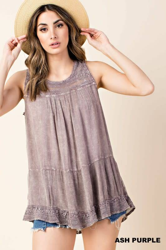 Double Lace Ruffle Btm Washed Top