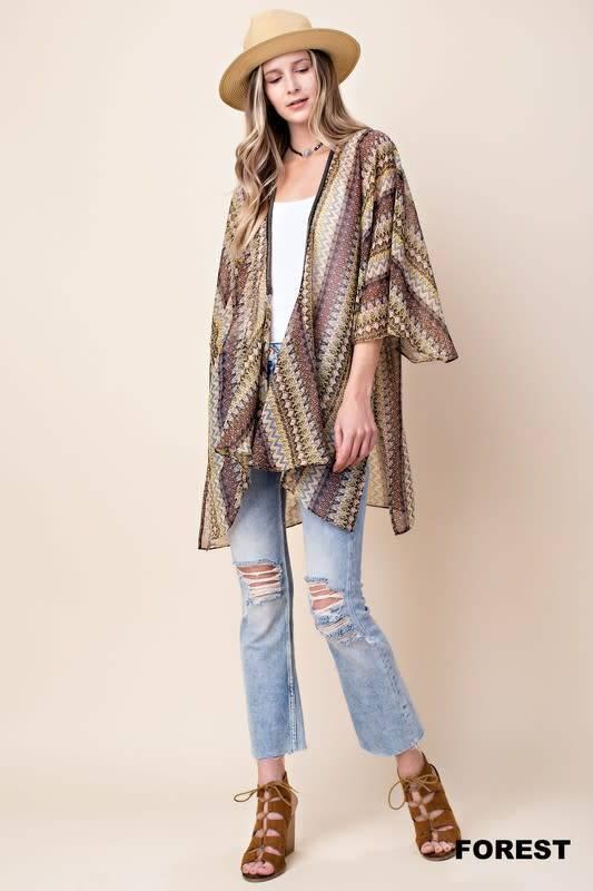 Flare Slv Chiffon Kimono