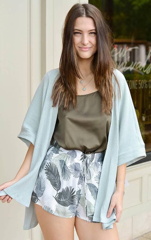 3Q Slv Knit Kimono