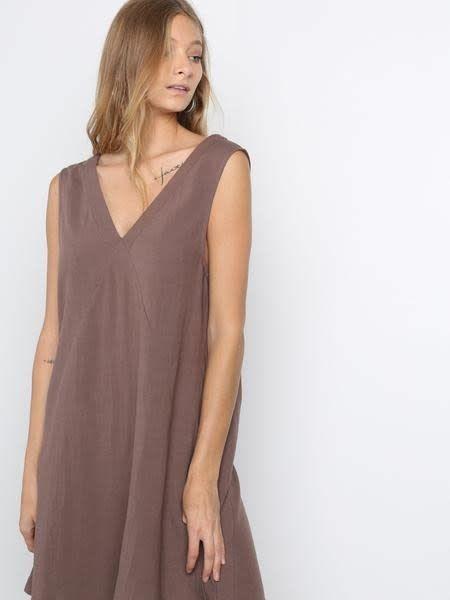 A Line Vneck Dress W/Seam Details