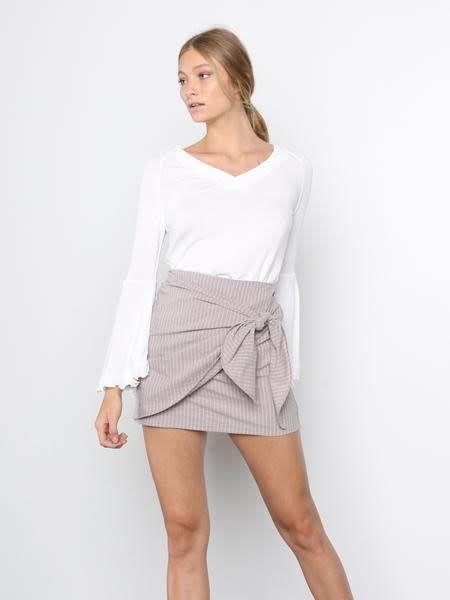 Faux Wrap Tie Det Stripe Skirt