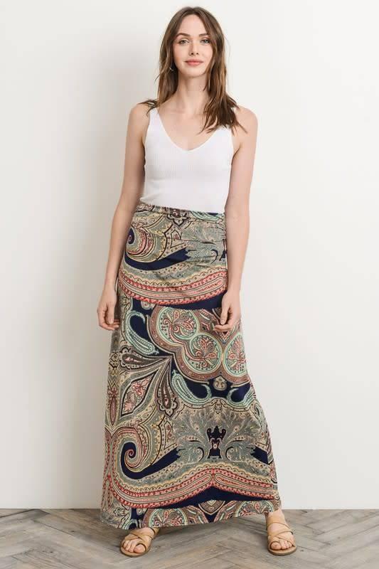 Paisley Print Maxi Skirt