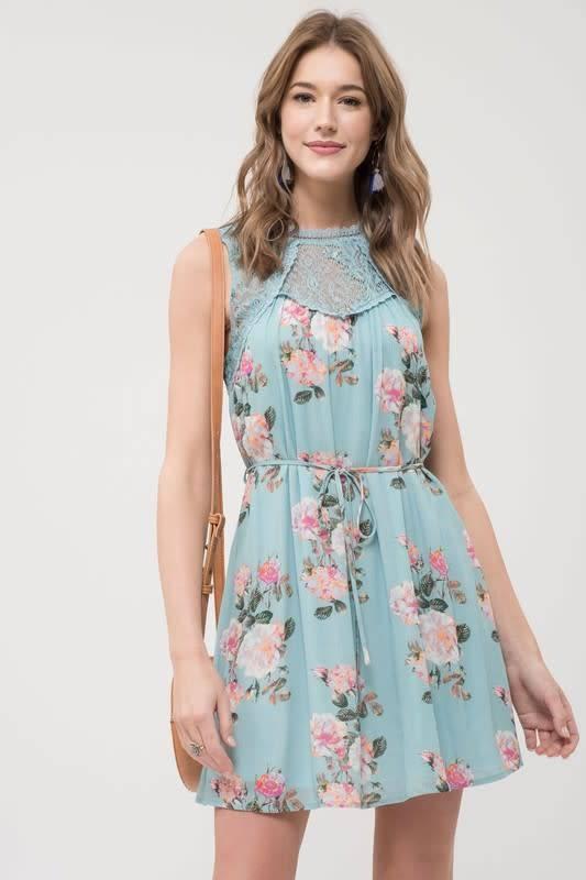 S/L Lace Floral Print Dress