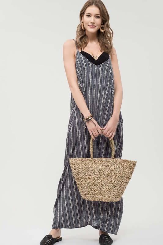 Vneck Striped Maxi Dress