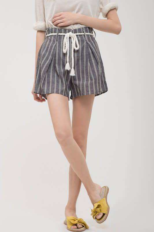 Striped Shorts W/Rope Belt