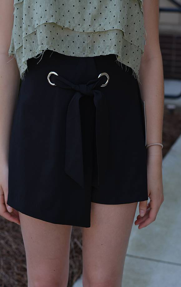 Asym Wrap Shorts W/Grommet & Front Tie