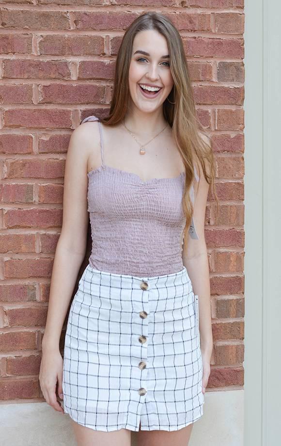 Button Down Checkered Skirt