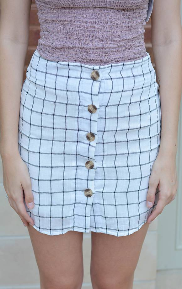 Charlie Girl Button Down Checkered Skirt