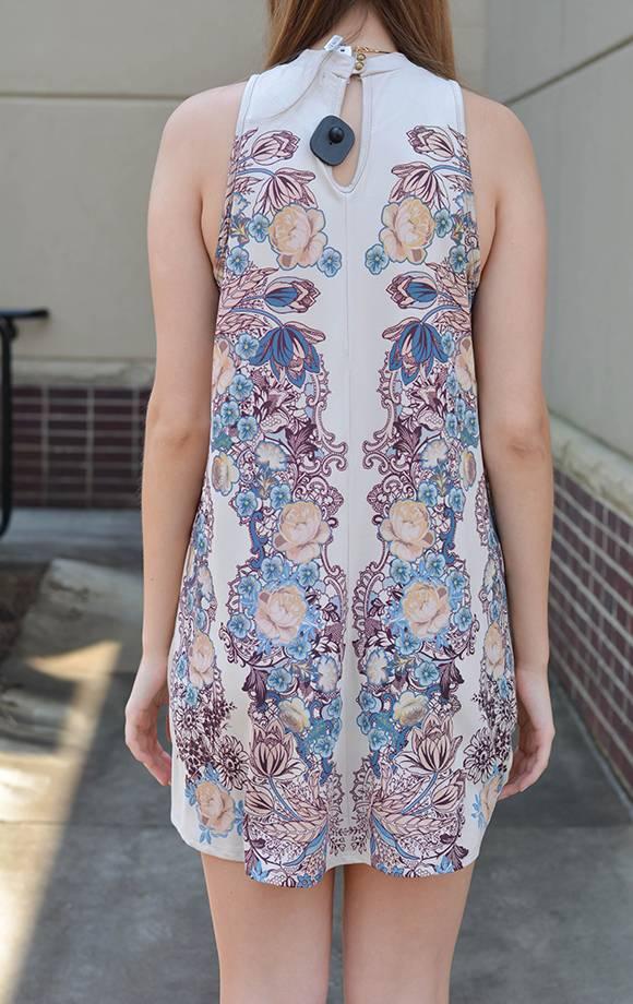Mock Neck S/L Print Dress