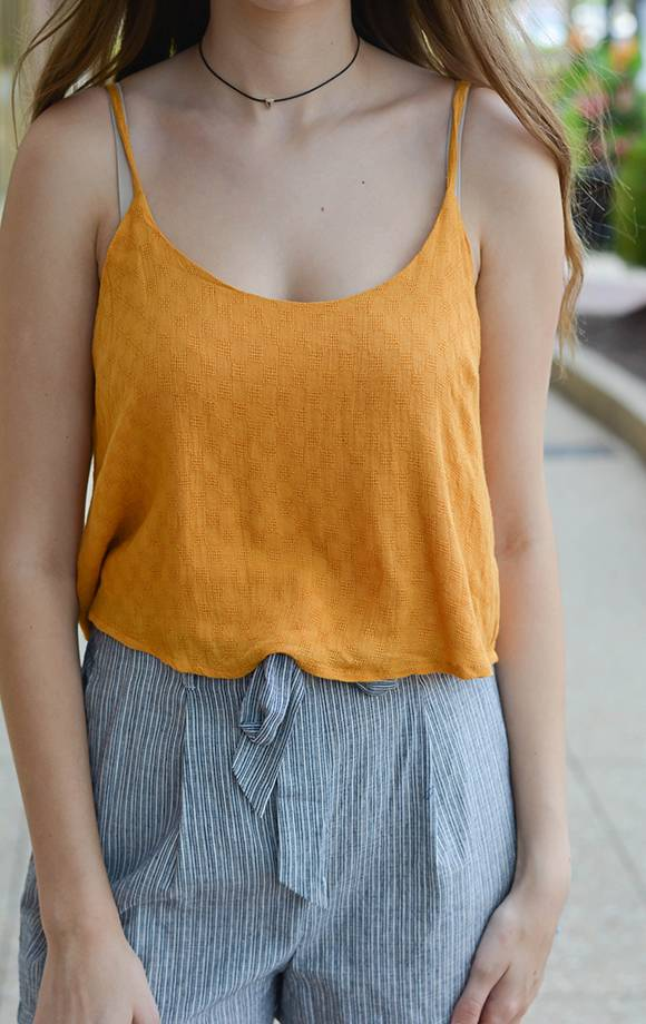 Woven Checkered Crop Tank
