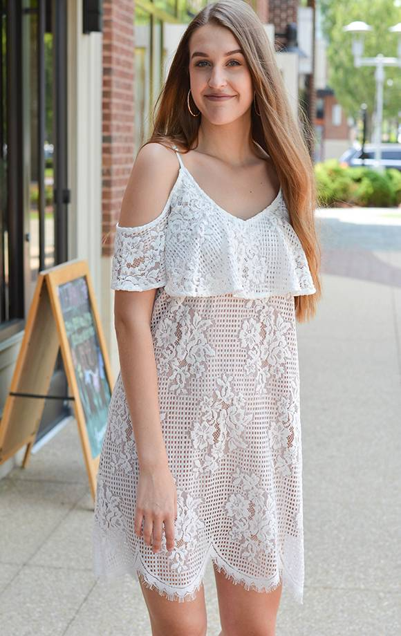 Greta Scallop Lace W/Ruffle Cold Shoulder Dress