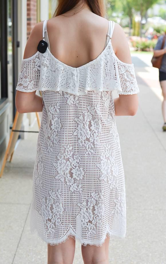 Scallop Lace W/Ruffle Cold Shoulder Dress