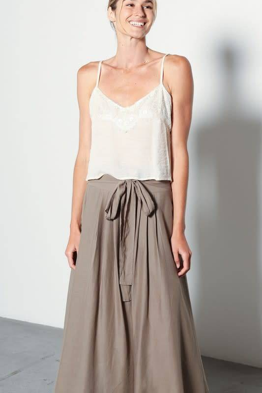Beth Lace Trim Cropped Woven Tank