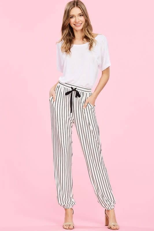 Knit Striped Jogger Pants