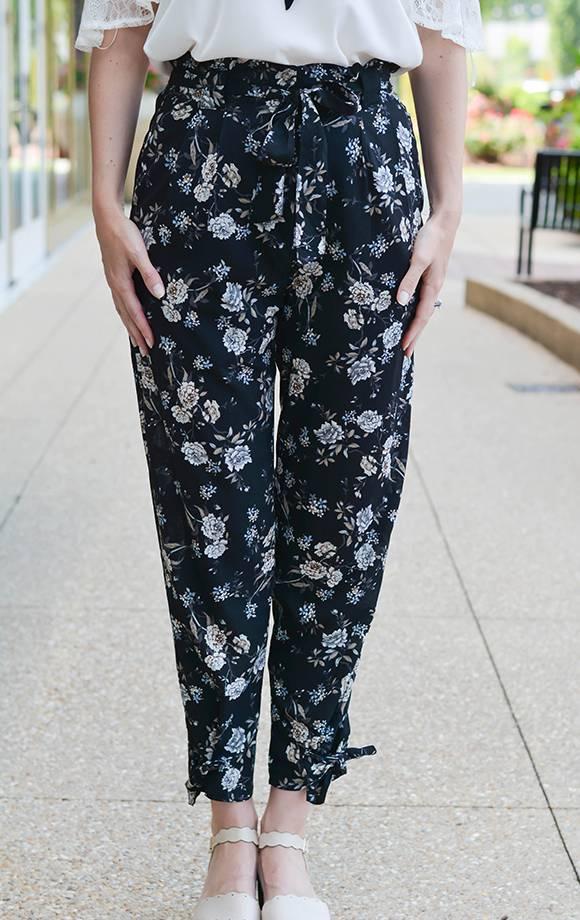Abigail Floral Tie Bottom Jogger Pants