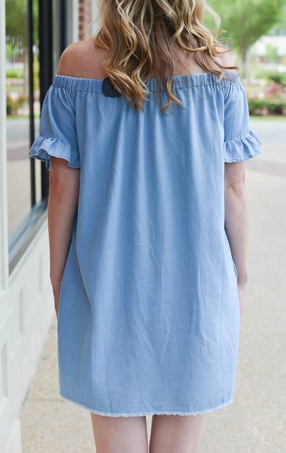 Nina Off Shoulder Ruffle Det Tencel Dress