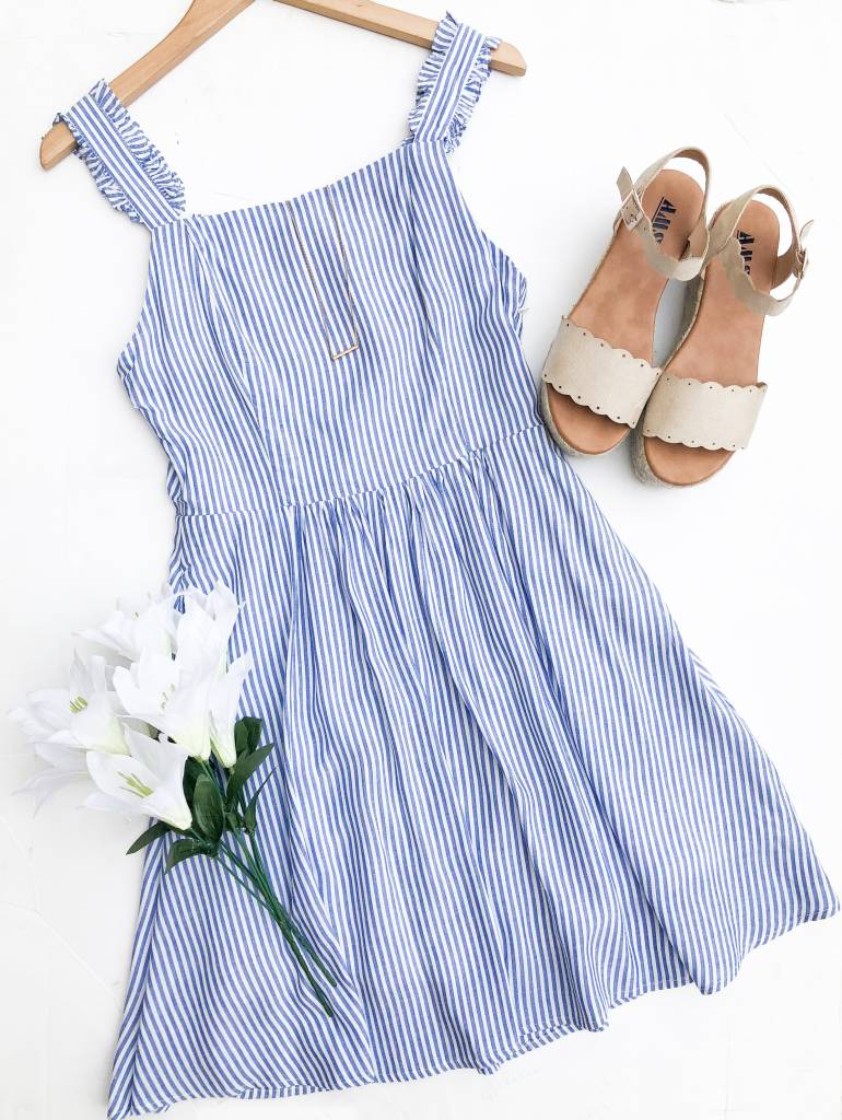 Stripe Ruffle Strap Apron Skater Dress