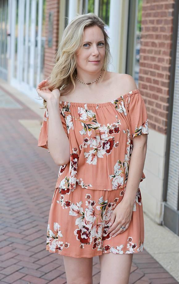 Kirsten Crinkle Off Shoulder Floral Prt Romper