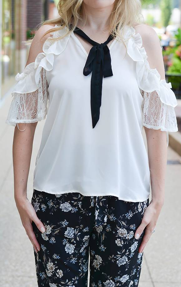Dolce Ruffled Cold Shoulder Top W/Neck Tie