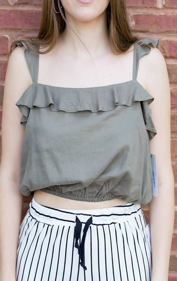 Woven Top W/Ruffle Strap and Trim