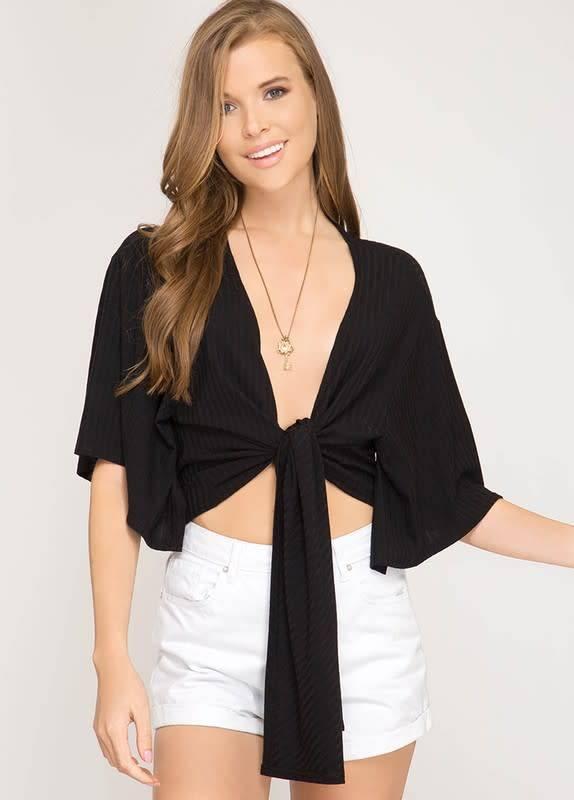 Lauren Half Slv Rib Knit Tie Front Top