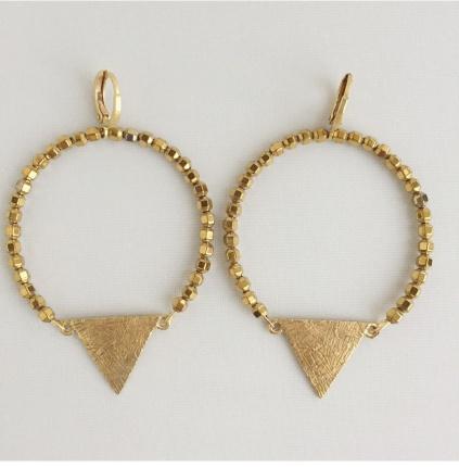 BOU-COU Beaded Hoop W/Triangle