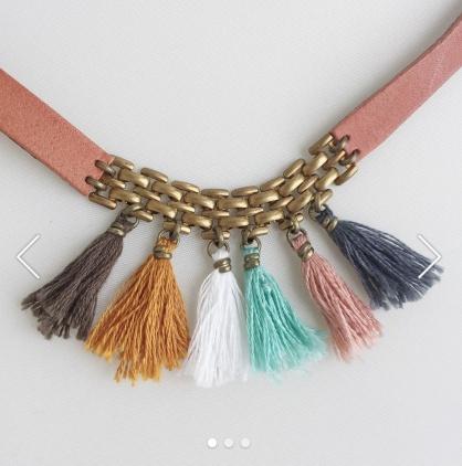 BOU-COU Multi Color Tassel Leather Choker