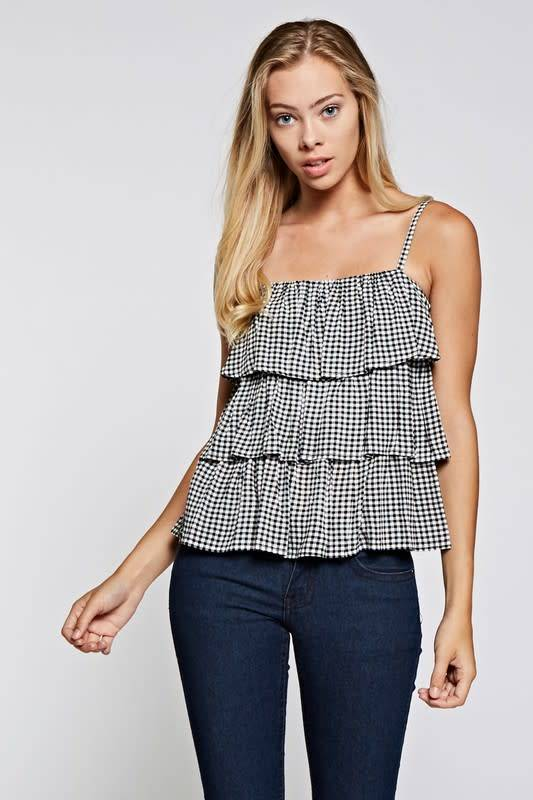 Gia Gingham Tiered Cami Top