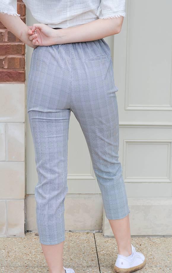 Glen Plaid Trousers W/Sash