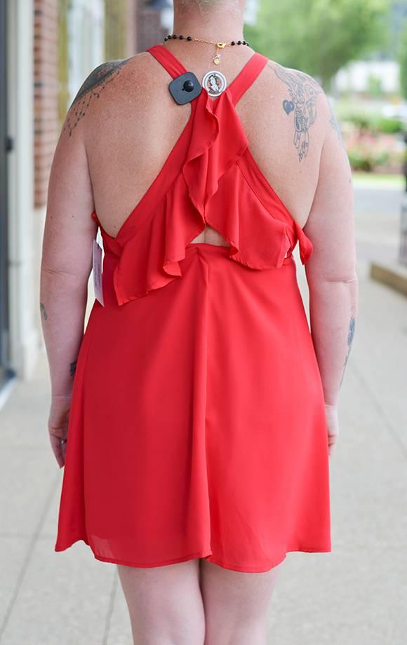 Elena S/L Shift Dress W/Back Ruffles