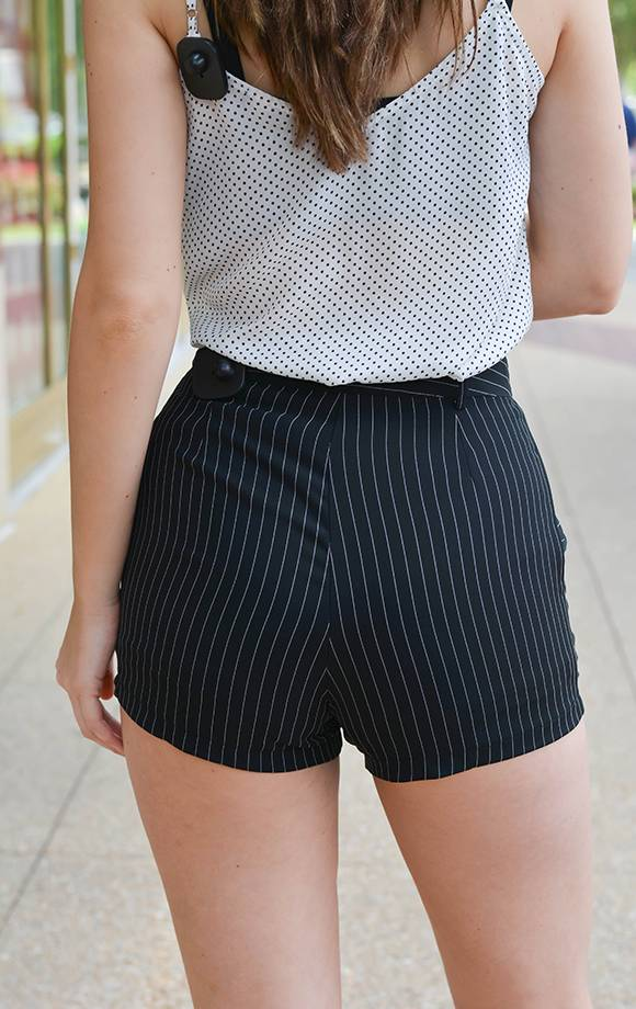 Ross Striped Woven Shorts W/Pockets