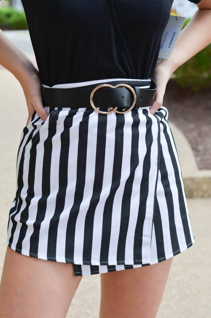 Lydia Woven Striped Wrapped Skirt