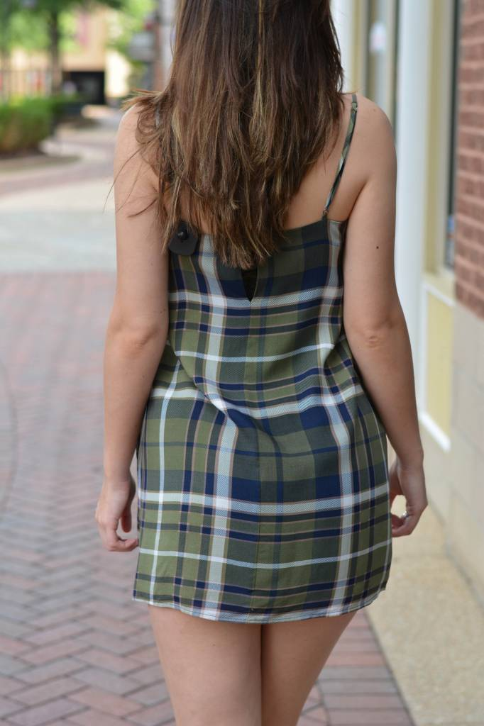 Belle Tie Front Plaid Midi Dress
