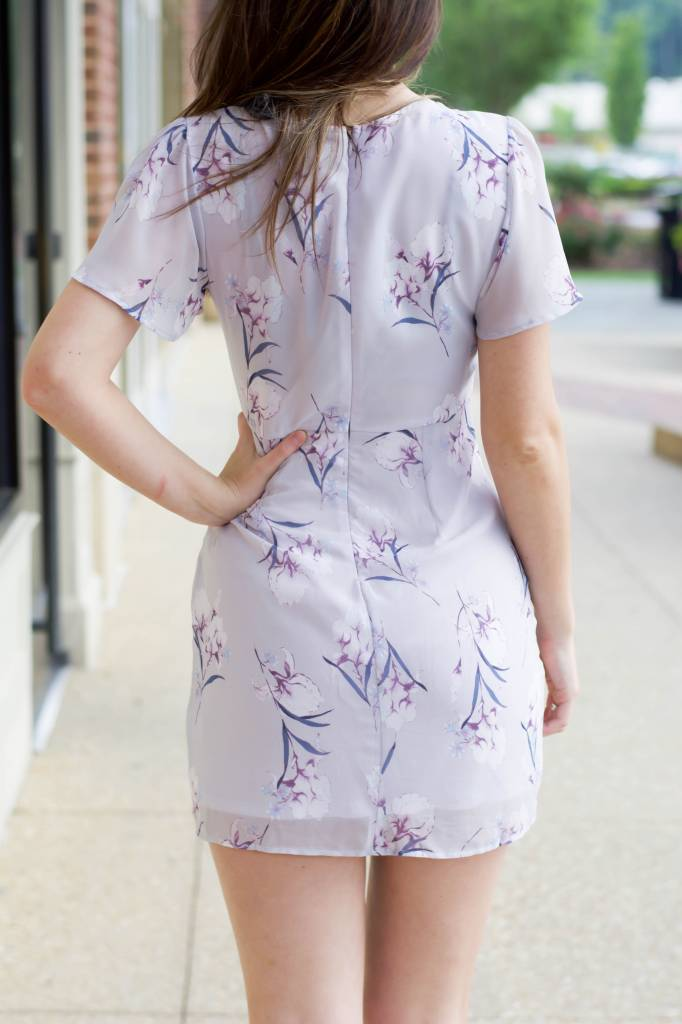 Lana Floral Sheer Dress W/Tie Knot Front